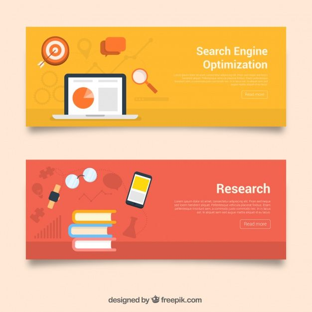 Colored banners with books and technological devices Free Vector