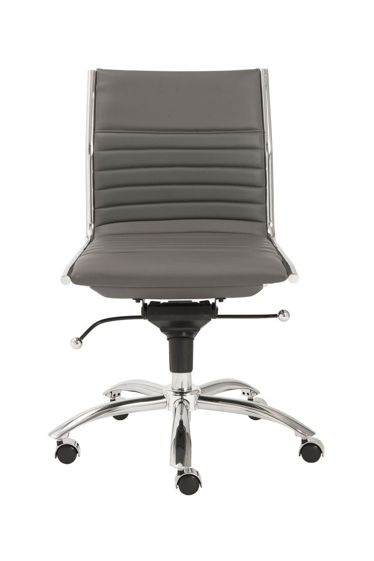 Dirk Low Back Office Chair without Armrests in Gray with Chromed Steel Base
