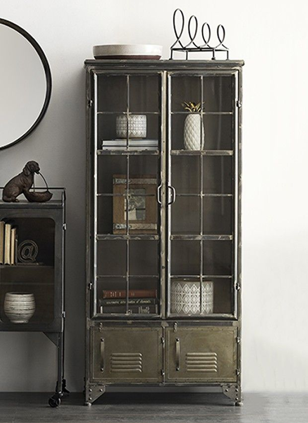Distressed Black Metal Cabinet With 4 Doors In 2020 Metal