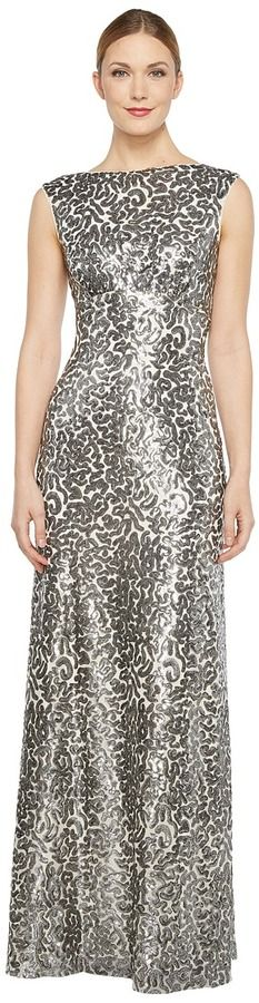 Donna Morgan Boat Neck Empire Waist Sequin Women's Dress