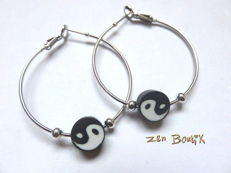 Boucles d'oreilles Zen Yin Yang Anneaux créoles, argenté, Idée cadeau Zen, Bijoux Zen Boutik, Noir : Boucles d'oreille par zenboutik