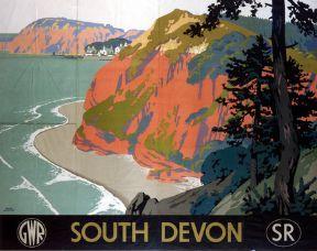 South Devon, British Railway Travel Art Poster Print by Great Western Railways and Southern Railways