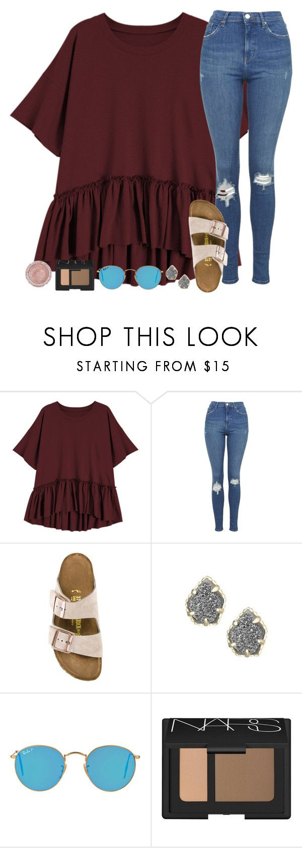 """""""Sorry I've been inactive!"""" by mississippigirl-1 ❤ liked on Polyvore featuring Topshop, Birkenstock, Kendra Scott, Ray-Ban, NARS Cosmetics and Charlotte Russe"""