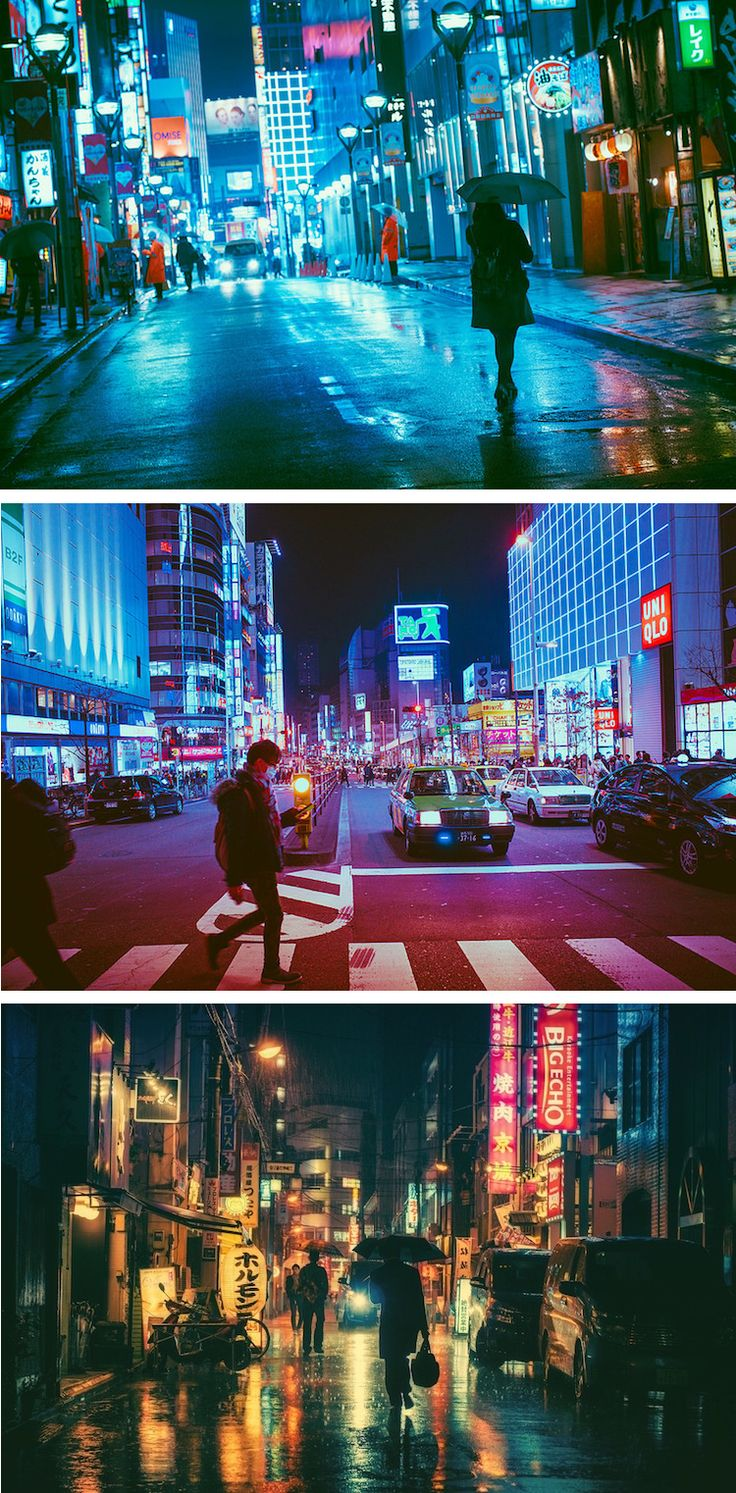 Masashi Wakui's vision of Tokyo at night is saturated with rich, vibrant colors.