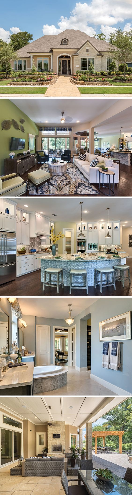 Find a new home in Fulshear, TX! You'll love the intricate details of The Anaheim - from the tiled wall in the study to the ceiling treatment in the dining area.:
