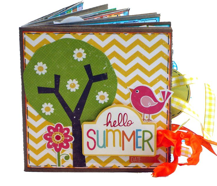 Hello+Summer+Scrapbook++Paper+Bag+Album+door+apicketfencelife,+$26,00