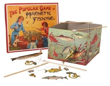victorian childrens toys | Magnetic Fishing Victorian Game 1890 Remake Retro Toy Great Santa ...