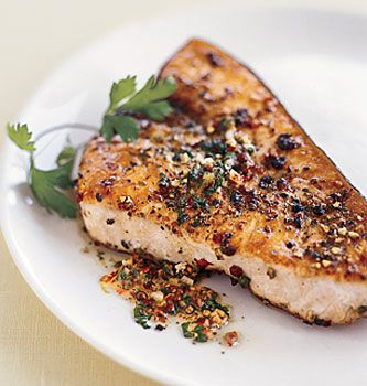 Pan-Roasted Swordfish Steaks with Mixed-Peppercorn Butter Recipe | Epicurious.com
