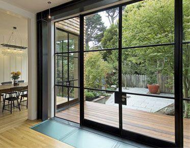 steel casement doors to back yard