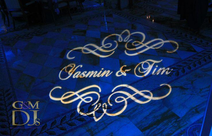 Brisbane Wedding Monogram with Blue room lighting at Palazzo Versace | Designed by G&M DJs | Weddings Lighting #gmdjs #magnifiqueweddings #weddinglighting #monogram #weddingdjbrisbane @gmdjs