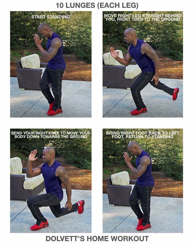 10 Lunges (each leg): 1. Start standing (feet together, weight on left foot) 2. Move right leg straight behind you, right toes to the ground (move right arm up, left arm down, bend left supporting knee) 3. Bend your right knee to move your body down towards the ground (until front left knee hits 90 degrees) 4.  Bring right foot back to left foot, return to standing  //  #BiggestLoser #DailyHomeWorkout