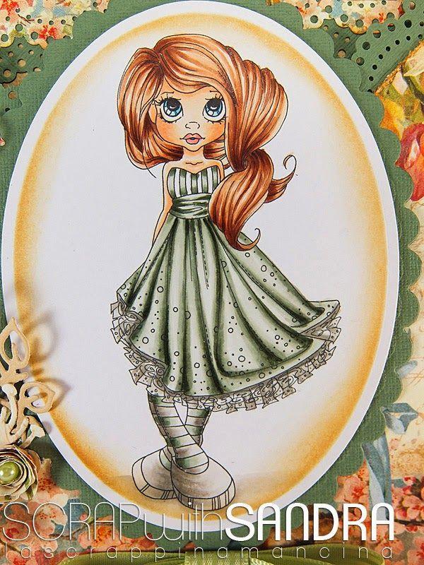 Un'altra card di Sandra per Copic Italia. Pelle: E000-00-02-95 -R20-22 Capelli:E17-15-13-11 Abito.BG90-93-96-99 W 00-1-3-5 Ombra: W00-1-3