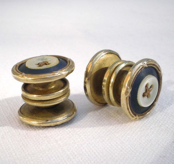 1920's French button cuff links. Navy blue and by ArtAndTradition