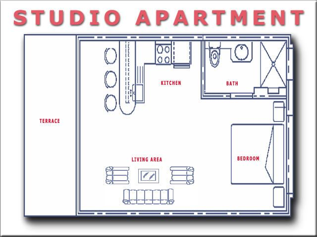 Studio apartment floor plans evergreen terrace for Efficiency apartment floor plans