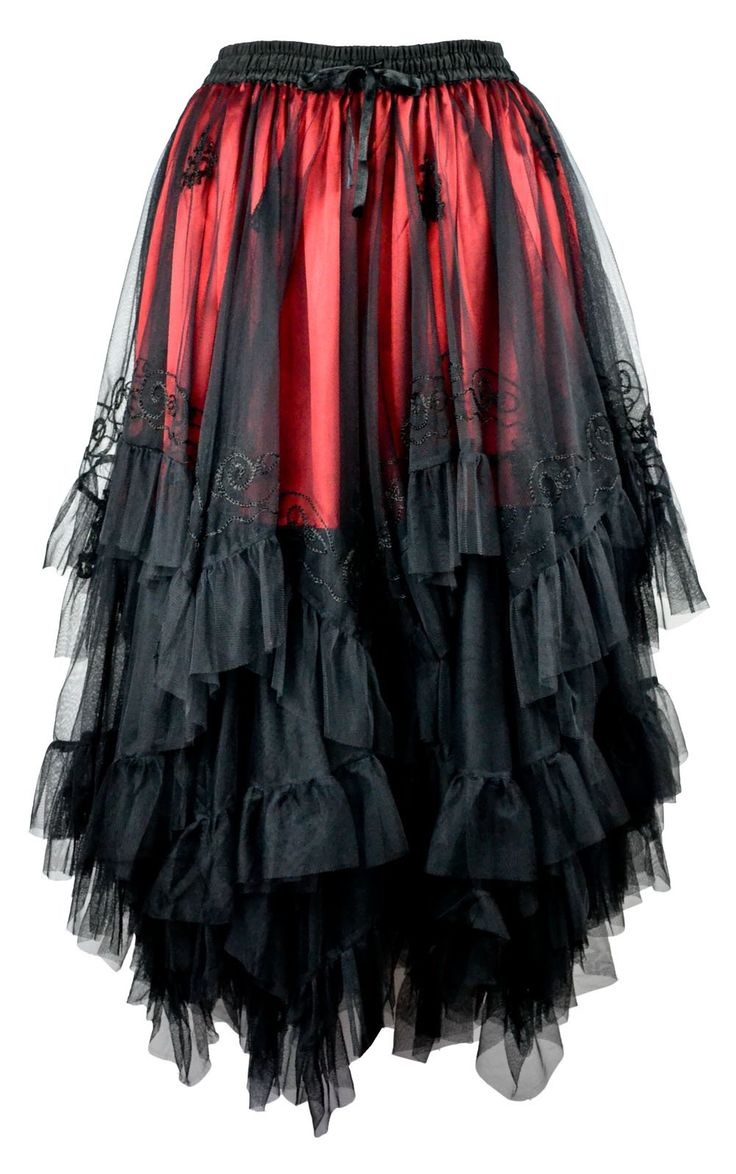 Dark Star Gothic Zig Zag Embroidered Mesh over Satin Skirt DS/SK/7641 Black Free size/UK 12 14 16 18 20*: Amazon.co.uk: Clothing