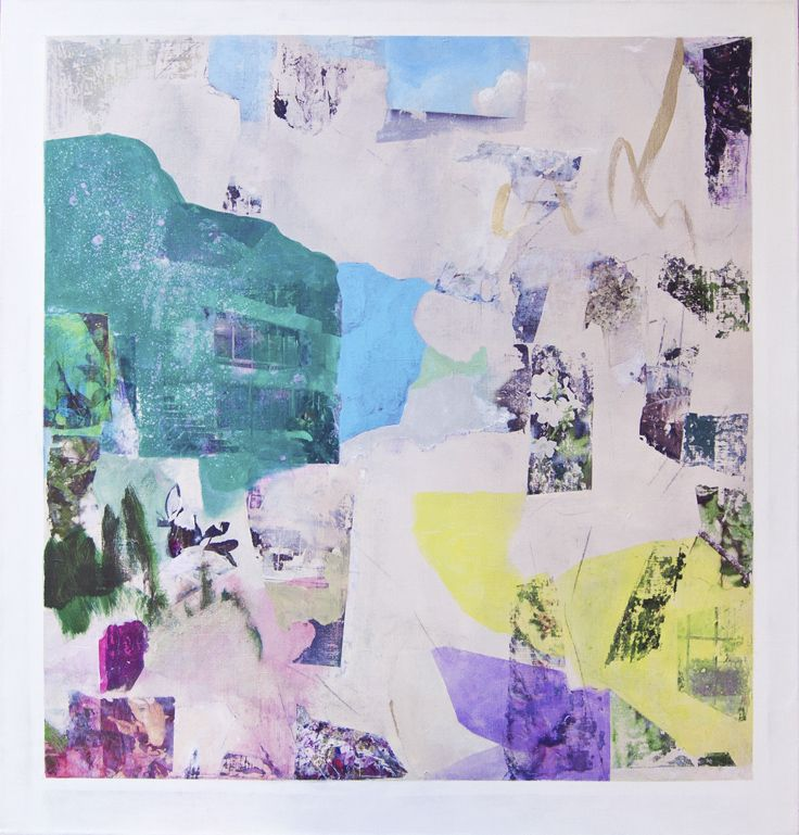 Mari Jäälinoja, Tapiola, 2016, acrylic and collage on canvas, 105x100cm