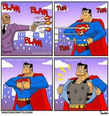 """Lex Luthor tries to kill Superman but fails due to Superman's bullet-proof vest"""