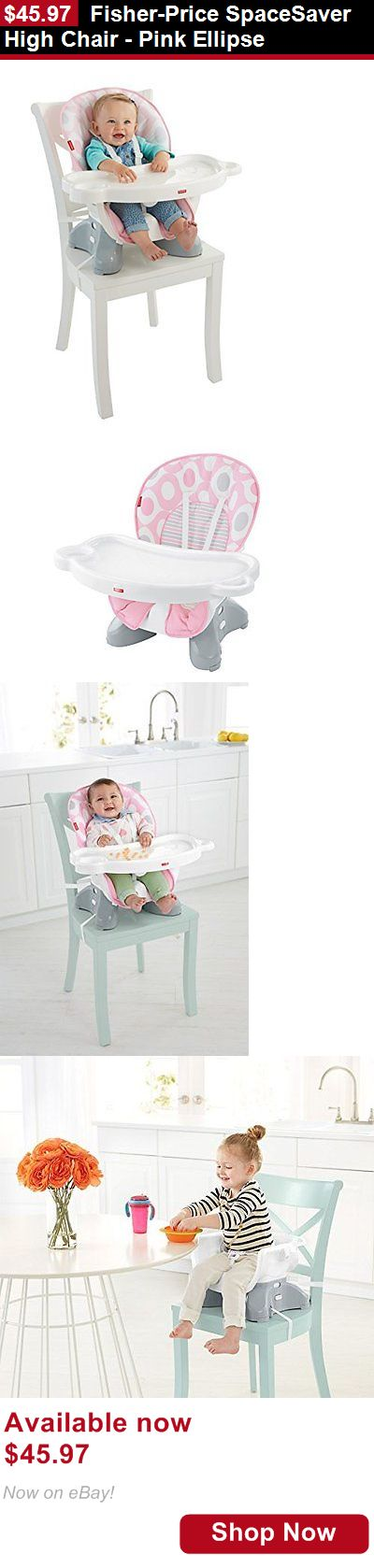 Baby High Chairs: Fisher-Price Spacesaver High Chair - Pink Ellipse BUY IT NOW ONLY: $45.97