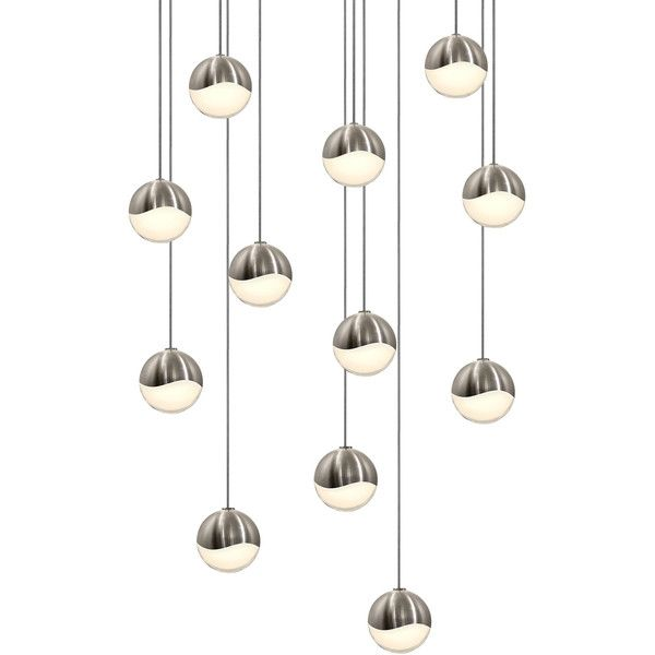 Sonneman Grapes LED 12-Light Round Canopy Pendant found on Polyvore featuring home, lighting, ceiling lights, silver, sonneman lamp, sonneman, sonneman lighting, wave lamp and infinity lamps