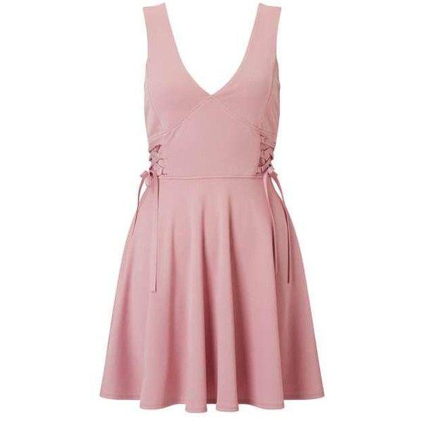 PETITE Corset Skater Dress ($47) ❤ liked on Polyvore featuring dresses, petite corset, petite skater dress, pink dress, petite dresses and corsette dress