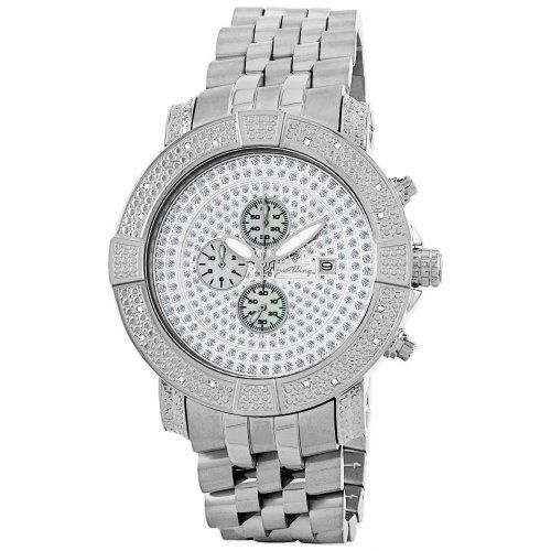 """JBW Men's JB-6115-C """"Gotham"""" Chronograph Pave Dial Diamond Metal Watch JBW. $140.41. High quality stainless 5 link metal band with deployment clasp. Stainless-steel bezel with two rows of diamond pattern detail; 0.16CTW of genuine diamonds on the bezel. Two layer pave crystal dial with genuine Mother-Of-Pearl sub dials; Date calendar at 3 O'clock; Illuminated hands. Highest Standard Quartz Chronograph Movement. Water-resistant to 330 feet (100 M)"""
