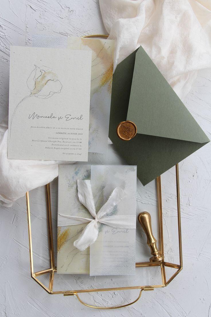 Minimalist Wedding Invitations Vellum Wring Paper Plant Dyed Silk Ribbon Handmade Envelopes With