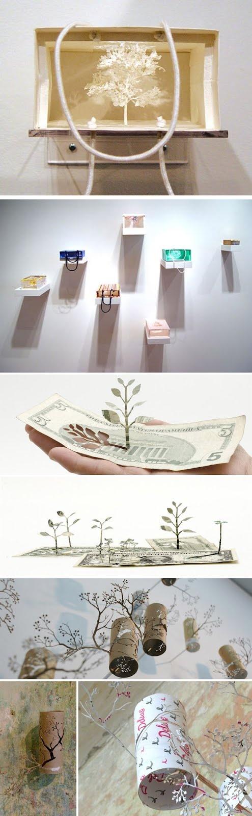 El artista japonés Yuken Teruya, esculpe las bolsas de papel, periódicos, libros y hasta rollos de papel higiénico y los convierte en hermosos árboles en miniatura.