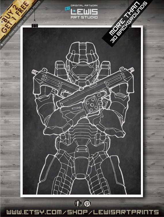 Master Chief poster, Master Chief patent, Master Chief print, Master Chief art, Wall Geek Decor no107