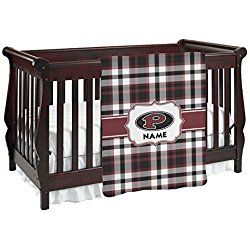 Pearland Oilers Red Plaid Personalized Baby Blanket (Single Sided)