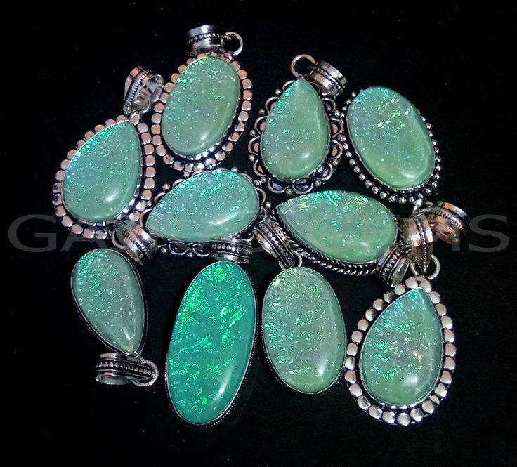 Valentine Gift ! 20 PCs Sea Blue Australian Opal Gemstone Silver Plated Pendants #Gajrajgems92_9 #Pendant