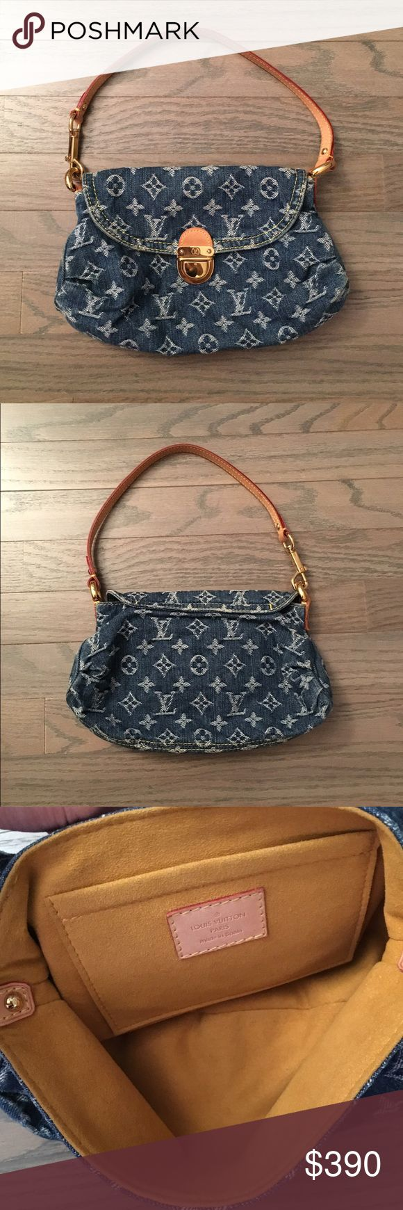 Louis Vuitton Denim Bag Authentic Louis Vuitton Small Denim Bag. Approximately 10x6 inches. Strap drop is about 7.5 inches. Flap and push-lock closure. Used gently so in very good condition. Louis Vuitton Bags Shoulder Bags