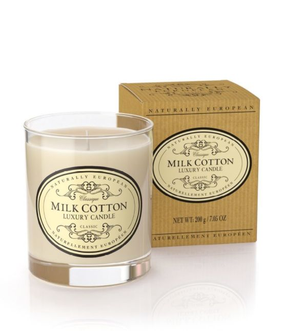 Wonderful Organic Candles - Milk Cotton - A seriously great quality candle which burns well and perfumes the room brilliantly. Made with organic plant wax, essential oils and 100% natural ingredients, these candles are clean burning, sustainable and kind to your environment.  Milk Cotton offers the warming undertones of cedarwood and patchouli. A clean fragrance that is mellow and warming.     40hr burn time  200gms