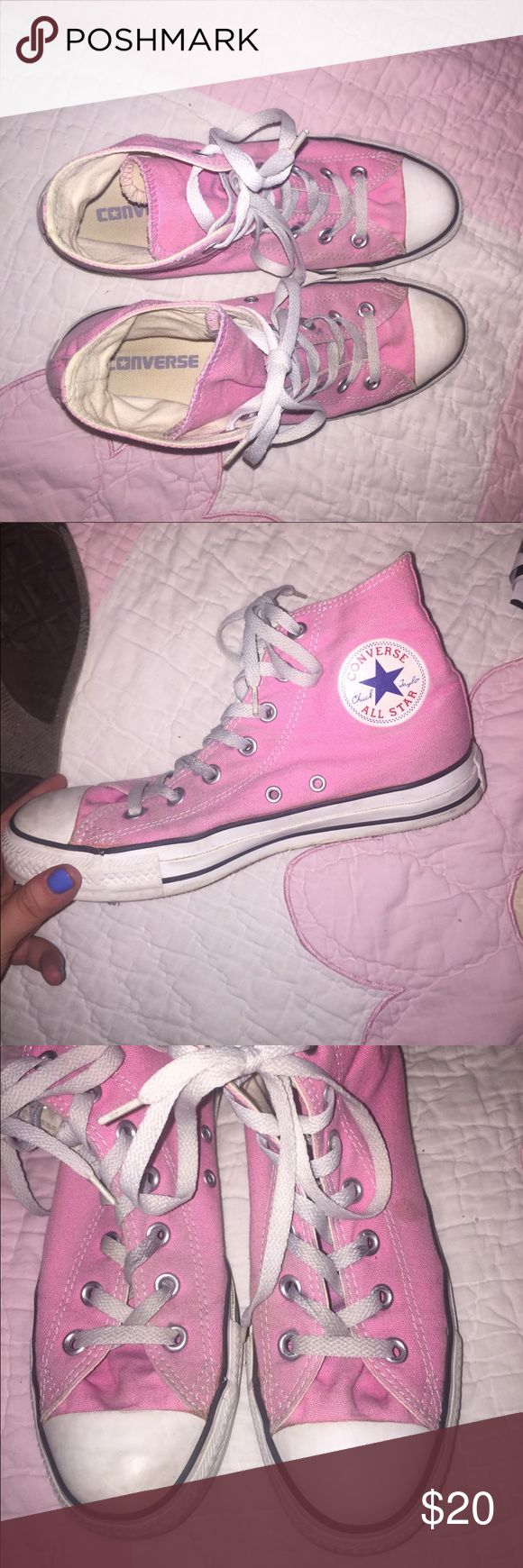 Light pink Converse high tops Fairly good condition! Easily cleanable! :) Converse Shoes Sneakers