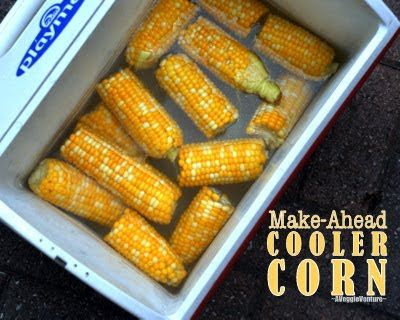Cooler Corn - How to Cook Corn in a Beer Cooler ♥ AVeggieVenture.com. Makes excellent corn ahead of time, same technique works on stove too.
