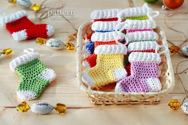 Christmas Stocking Ornaments crochet pattern $3.90 on Etsy at http://www.etsy.com/listing/116631129/crochet-pattern-crochet-christmas