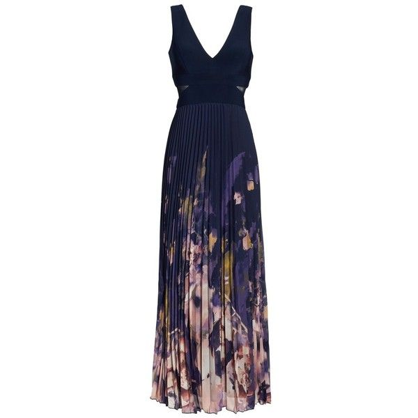 Petite Women's Xscape Floral Border A-Line Chiffon Gown (375 BGN) ❤ liked on Polyvore featuring dresses, gowns, navy multi, petite, navy blue gown, navy blue evening dress, blue ball gown, petite evening dresses and see through dress