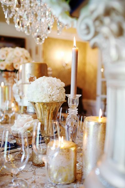 White and gold, many small elements. Chimney decor?