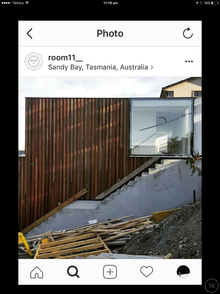 This rough sawn timber cladding: board width to mirror internal board width