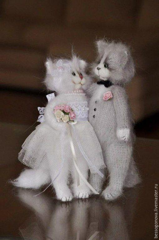 Купить СВАДЕБНАЯ пара Жених и невеста коты - кошка, кот, котик, игрушка кот