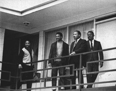 The Rev. Martin Luther King Jr., stands with other civil rights leaders on the balcony of the Lorraine Motel in Memphis, Tenn. in this April 3, 1968 photo, a day before he was assassinated. From left are Hosea Williams, Jesse Jackson, King, and Ralph Abernathy.