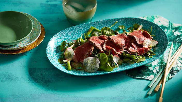 This light and zesty Japanese #salad combines #beef tataki with watercress, charred spring onions and miso.