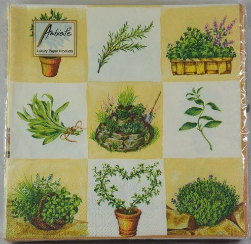 Tovaglioli di carta herbs fondo crema 20 pz - Tovaglioli di carta decorati ...