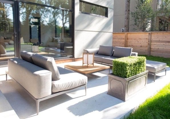 #Marguerite house patio from #BryanInc seen on #HGTVCanada. Furniture from Cocoon: #Grid sectional and cocktail table. #bryanbaeumler #sarahbaeumler