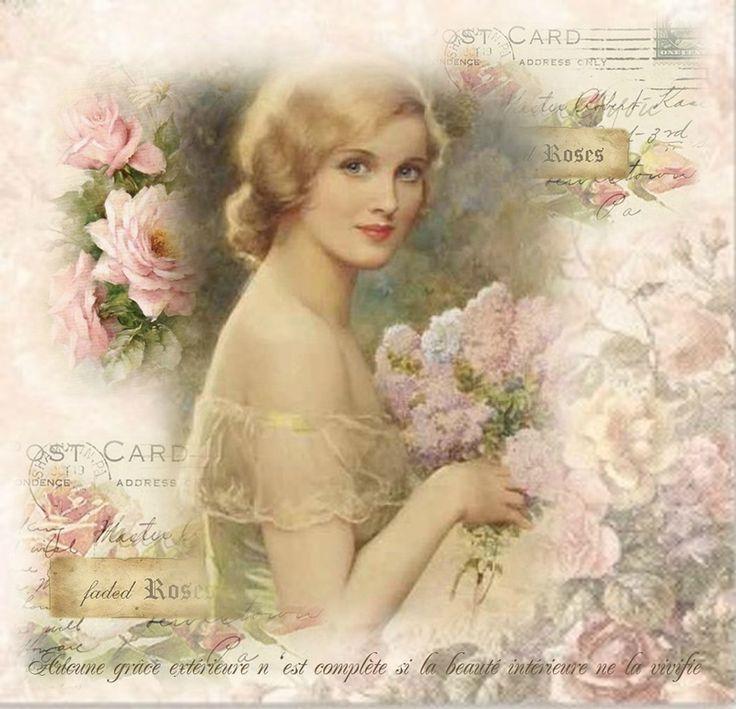 vintage lady, vintage collage, vintage decoupage, Found on astreor.canalblog.com