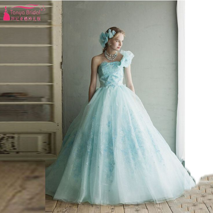 Find More Wedding Dresses Information about 2016 Colorfull one shoulder Wedding dresses Lace appliques Luxury Bridal Dresses with amazing Bow Lovely Dresses  Z427,High Quality dress taffeta,China dress cape Suppliers, Cheap dresses for skinny girls from Tanya Bridal Store on Aliexpress.com