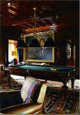 Billiards room - triple pendant light, large rug, large oil painting, wood ceiling