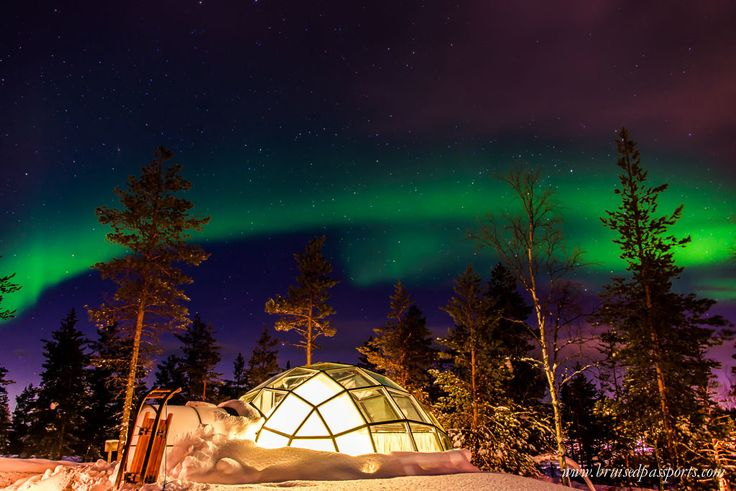Northern Lights over our igloo in Kakslauttanen, Finland