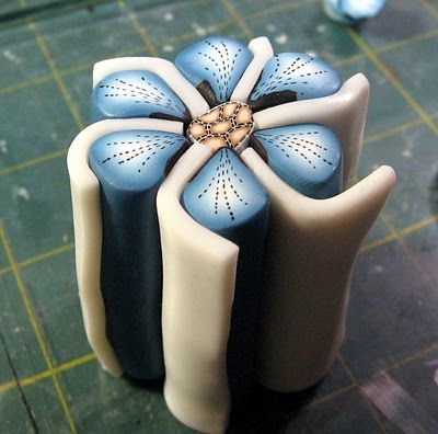 Kael Mijoy: Polymer Clay Tutorial: Blue Stitched Flower Cane