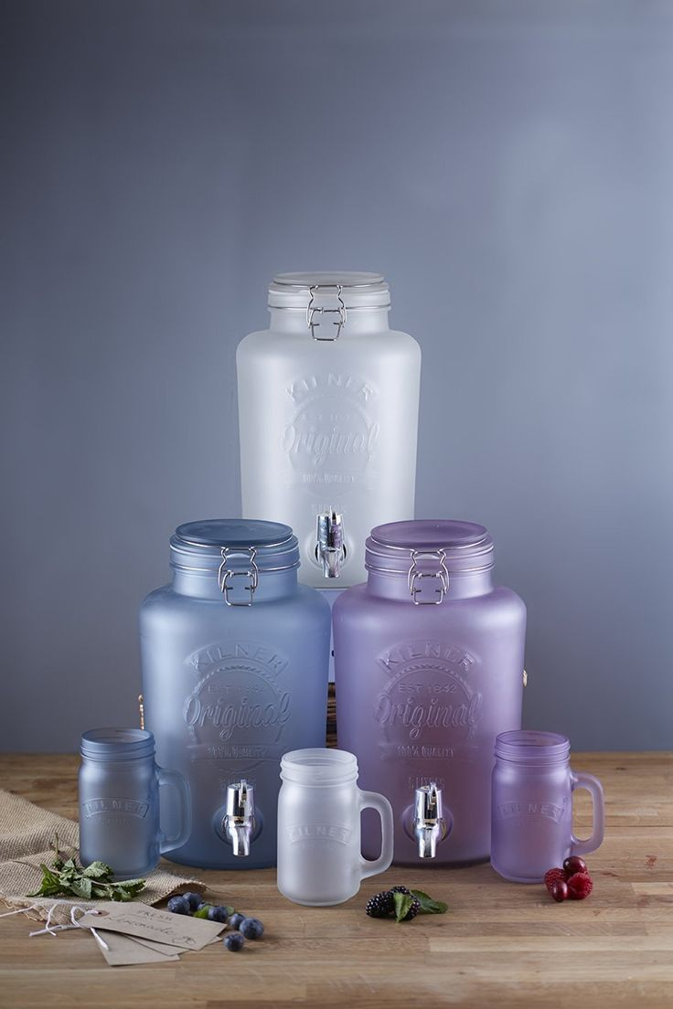 Kilner Frosted Dispensers. Coloured dispensers in frosted finish. Blue. Purple. White. 5 litres. Perfect for parties.