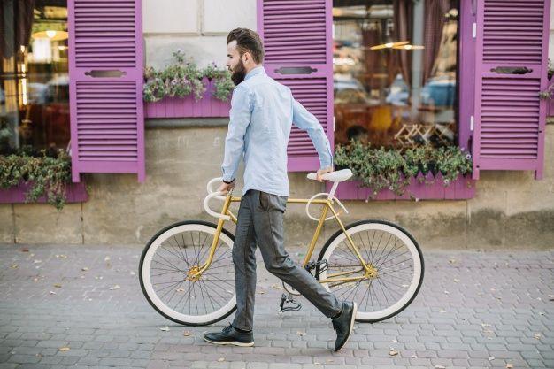 Man Walking Bike Google Search Bike Man Bicycle